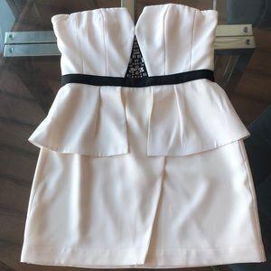 BCBGMaxazria Strapless Peplum Mini Dress